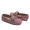 Pink leather moccasin ladiese shoes