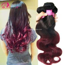 Wholelsale Human Hair Virgin European Hair T color 1b/red Body wave Ombre Hair Weaves