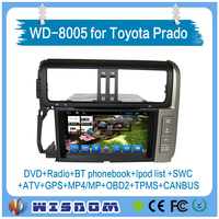top quality new car dvd player for toyota land cruiser prado audio player with bluetooth car stereo touch screen 8'' hd disply