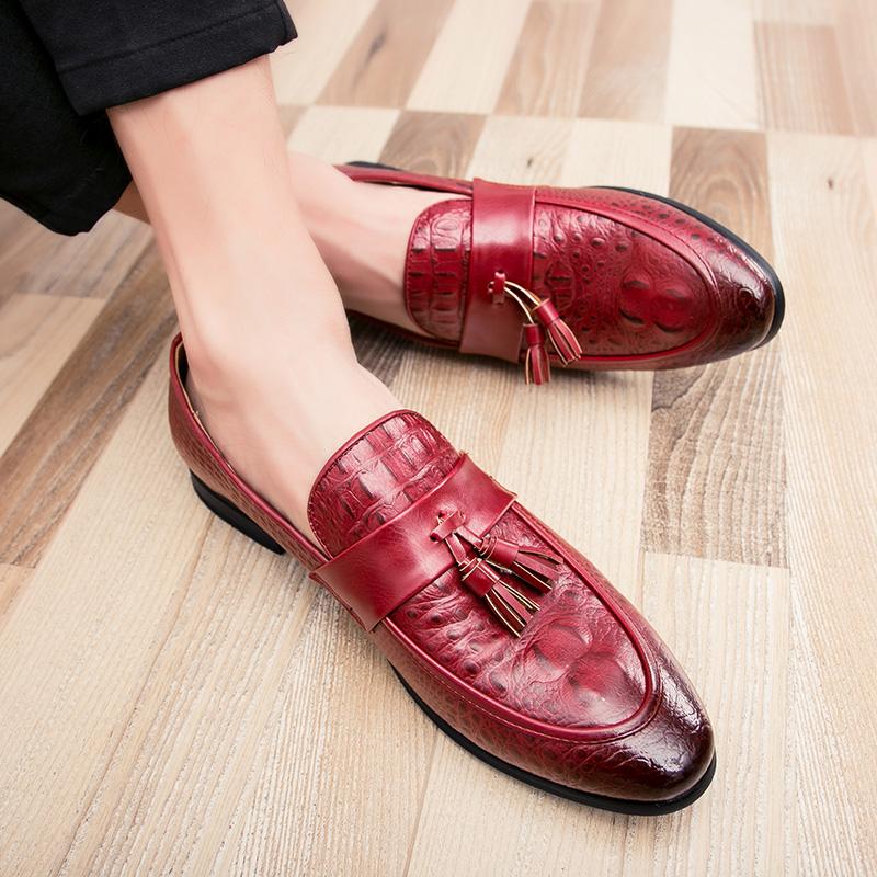 men winter italian fashion snake skin brogue leather oxford tassel slip on pointed toe shoes designer male formal cool footwear  (28)