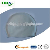 Silicone rubber stretchy swim cap for brazil world cup,Single colour swimming cap