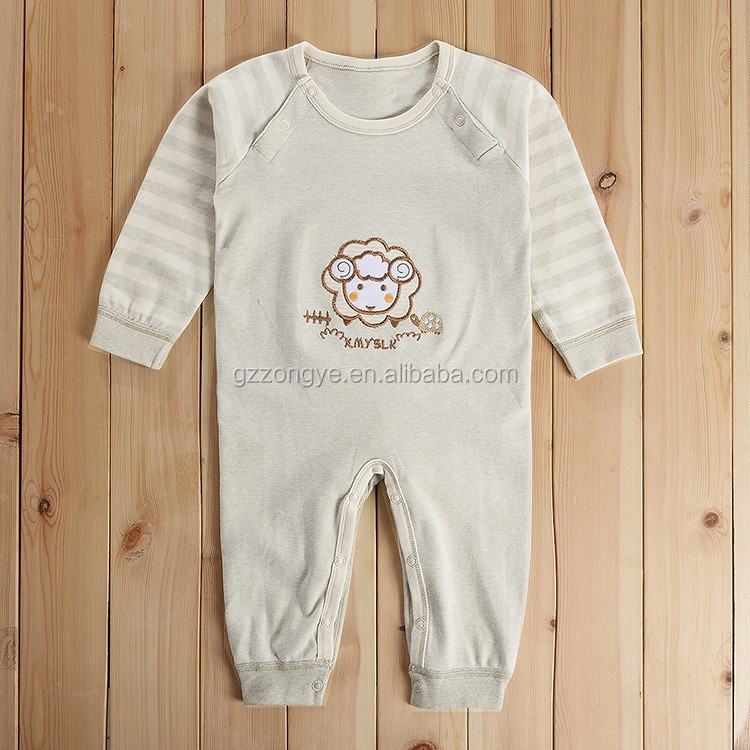 Embroidered with side button 100%cotton baby rompers