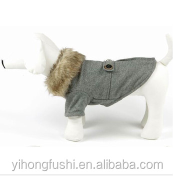 Fur Collar plain Overcoats Pet Dog Clothes heated Clothing For Small Dogs 2015 New Supplies Pet Products For Animals