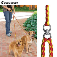 Dual Double Dog Leash Coupler No Tangle Durable Suits All Dog Walker and Trainer Leash Two Dogs Adjustable Splitter Lead