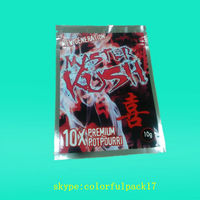 Master Kush brand name hologpam material ziplock bag with paillette design/4 G net weight for herbal incense packaging