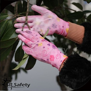 Srsafety Gardening Gloves With Flower PrintedCoated Pu