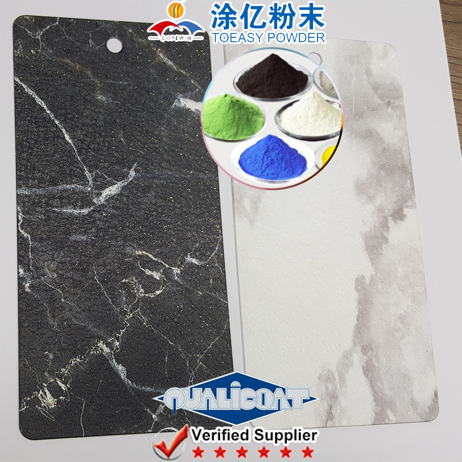 Artistic Texture Paint Powder Coating Powder with Metallic Hammer Rough Finish for aluminium substrate