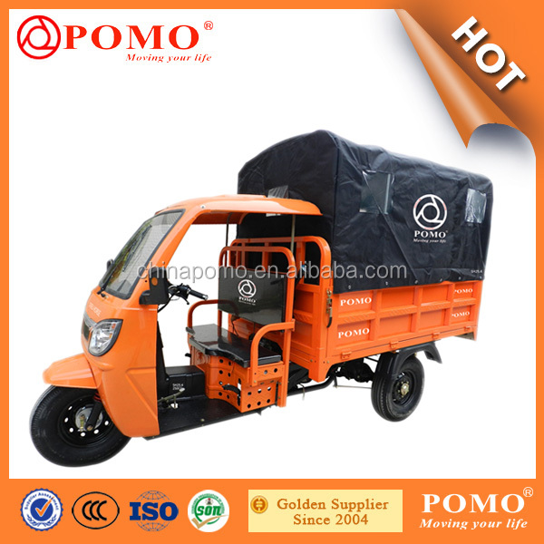 2016 Popular Heavy Load Strong Gasoline Cabin Semi-Closed Cargo Chinese 250CC Moped Tricycle For Cargo