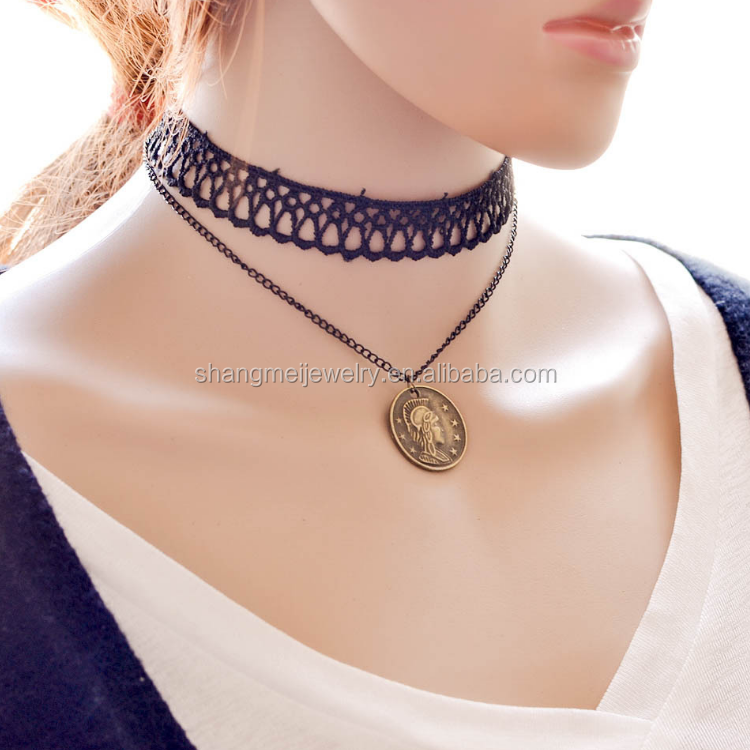 Vintage figure engrave pendant lace choker traditional jewelry designs