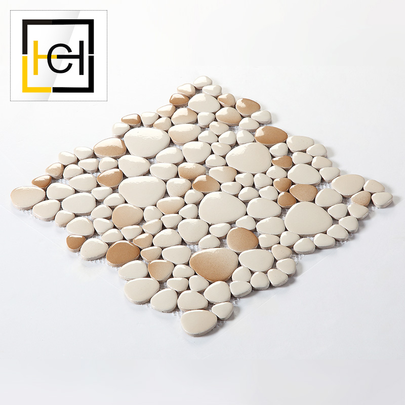 Hot Sale Garden Wall Decor Paving Pebble Mosaics Swimming Pool Gradient Ceramic Mosaic