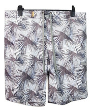 Digital printed fallen leaves white feather men's swimming trunks beach shorts with white mesh inside