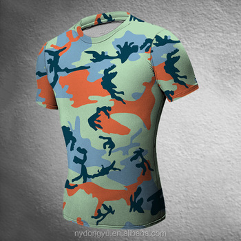 blue camo fast dry tight fit t shirts super sport camoflage short leeve t shirts