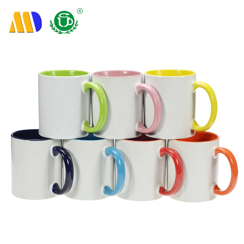 MIDA Mug Sublimation 11oz Inner Color and Handle Ceramic Mugs Blank White Cups