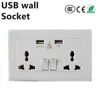 China Manufacturer 2.1A/4.8A Usb Socket wall EU type double 3 pinwall socket with usb port