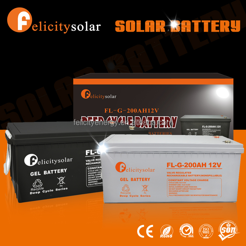 Felicitysolar high quality deep cycle 12V 200Ah gel solar storage battery