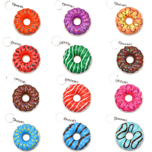 New Colorful Donut Squishy Slow Rising Fashion Keychain Soft Squeeze Toy Scented Stress Relief Fun Xmas Gift Toy for Children