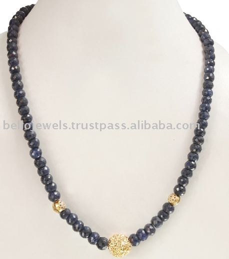 BLUE SAPPHIRE NECKLACE WITH GOLD BEAD TORONTO
