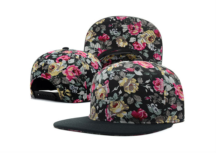Custom Floral Printing Brim Custom Snapback Hats And Caps