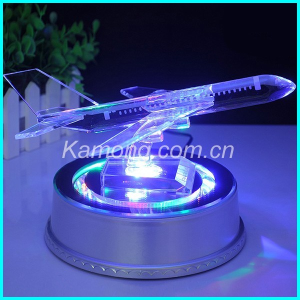 Airplane Clear Favor Boxes : Hot sale crystal glass airplane gifts figurines with led