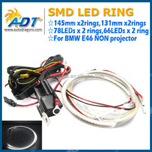 E46 smd led angel eyes 131mm halo ring yellow cotton angel eyes non projector headlight angel eye rings light