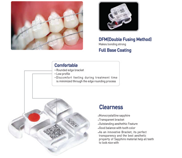 CE Approved HUBIT Perfect Clear I Sapphire Bracket/Dental Bracket for Professional and Single Use