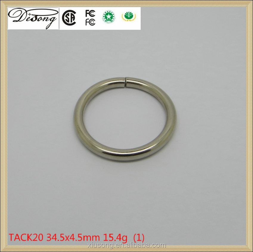 Fashion factory price nickel iron Round Metal Ring For Bag