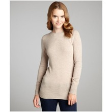 High quality women's Hayden women's pale oatmeal heather cashmere knit crewneck sweater Contemporary fit