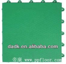 13mm indoor square Interlocking plastic floor tile/PP sport court flooring
