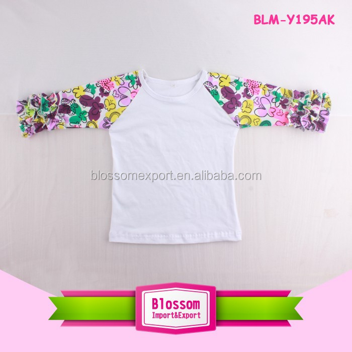 Boutique Raglan Custom Unisex T-shirts 3/4 Sleeve O Neck Raglan Floral T Shirt Toddler Icing Raglan Shirt with Ruffle Sleeve