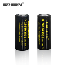 BASEN larger lithium-ion batteries 26650 3500mah 64A power max batteries 3.7v for sale