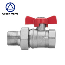 "Green-GutenTop 1/2"", 3/4"" or 1"" inch BSP Female x Male Red Butterfly Handle Water Brass Ball Valve With Flare"