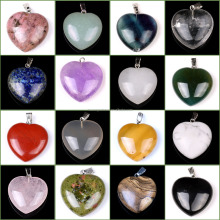 Wholesale Assorted Semi-precious Stone Puffy Love Heart Shaped Pendants