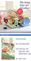 Machine Washable Printed Mink Baby Blanket Cartoon design