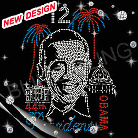 Obama stamp heat fix rhinestone design