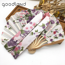 wedding favors souvenir invitation ladies bamboo nylon foldable hand fans mini custom hand held fan per your drawings with pouch