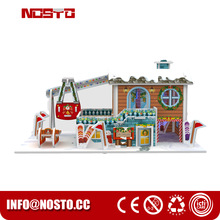 Ski house cute model christmas gift type children toy LED light diy assembly toys
