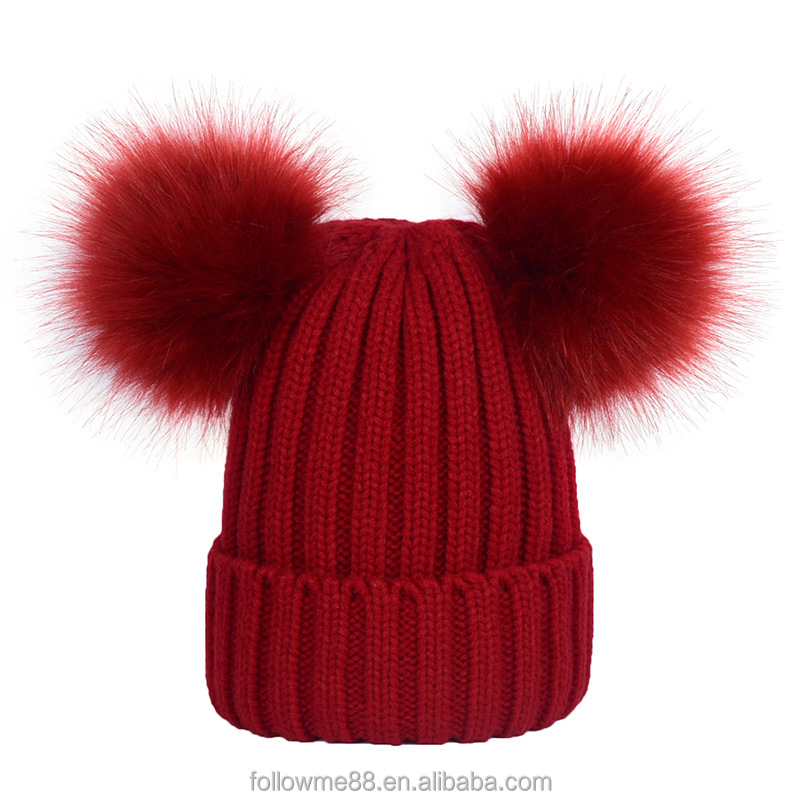 Women Double fake fur pom pom beanie hats Custom double faux fur bobble hat  red Christmas hat 6fcafd15a32