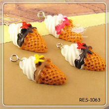 Miniature Waffle Ice Cream Cone With Bow Sweet Kawaii Decoden Cabochons 12x23x7mm