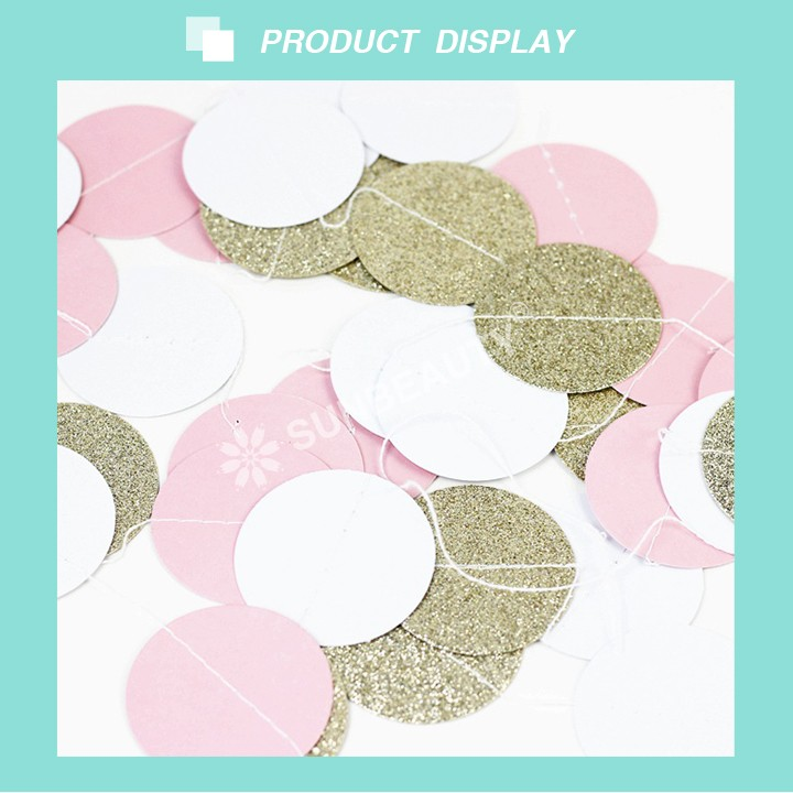 (Gold Glitter,Pink,White)11 Feet Circle Garland Polka Dots Paper Garland Photo Props Baby Shower Wedding Decor Bridal Shower