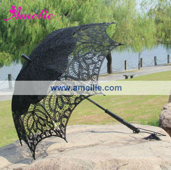 A0115 Black lace indian parasol with tassels