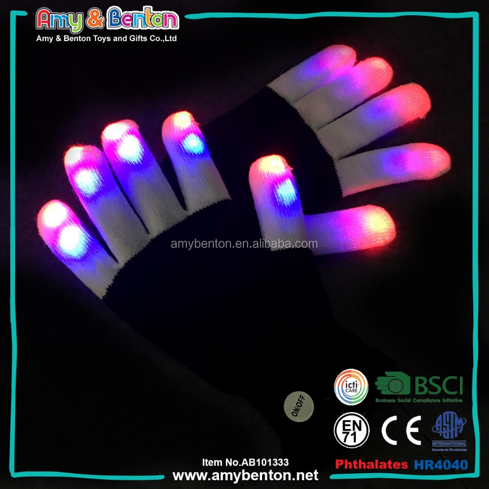 2017 Promotional Party Supplies Colorful LED Gloves Flashing Gloves
