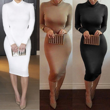 Cheap Women Winter High Neck Pencil Dress With Long Sleeve