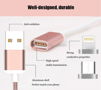 2017 Gold supplier customized magnetic micro usb cable with led light