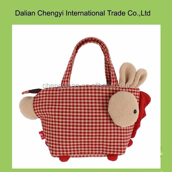 Hand made manual girls cute animal pure cotton shoulder bag