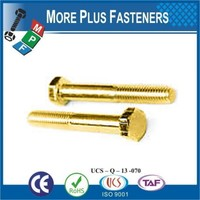 Made in Taiwan Cold Forged Partial Thread Solid Brass Hex Head Bolt