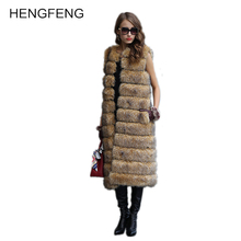 Women's Long Fox Fur Vest Sleeveless Thick Warm Winter Coat Slimming Vest