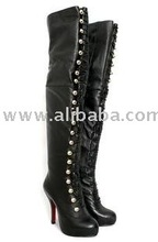 2012 fashion nail women over the knee boots, genuine leahter long boots, black high heels Boots