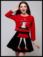 Alibaba China cartoon pattern casual pleuche top half-skirt twinset casual skirt suit