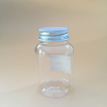 120ml Round Transparent PET pill medicine metal cap bottle Used for health care products and medicine