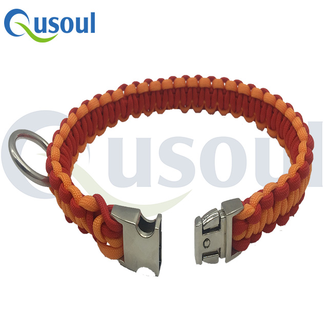 Custom Color Genuine Soft Leash Retractable Spiked Part Rope Bulk Wholesale 550 Paracord Dog Collar